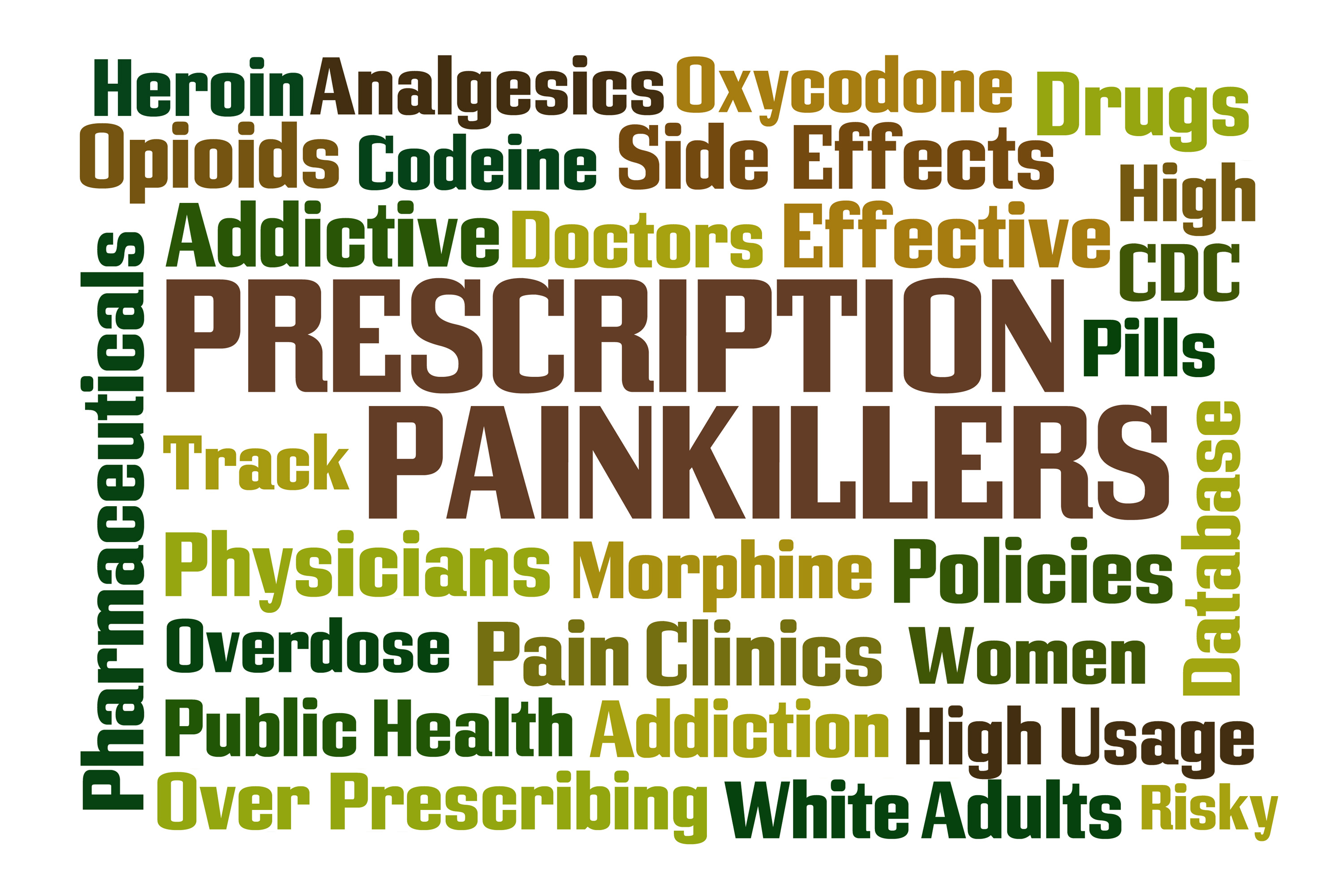 Prescription Painkillers word cloud with white background